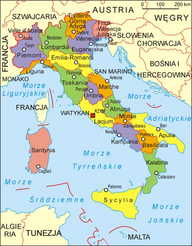 Włochy podział regionalny